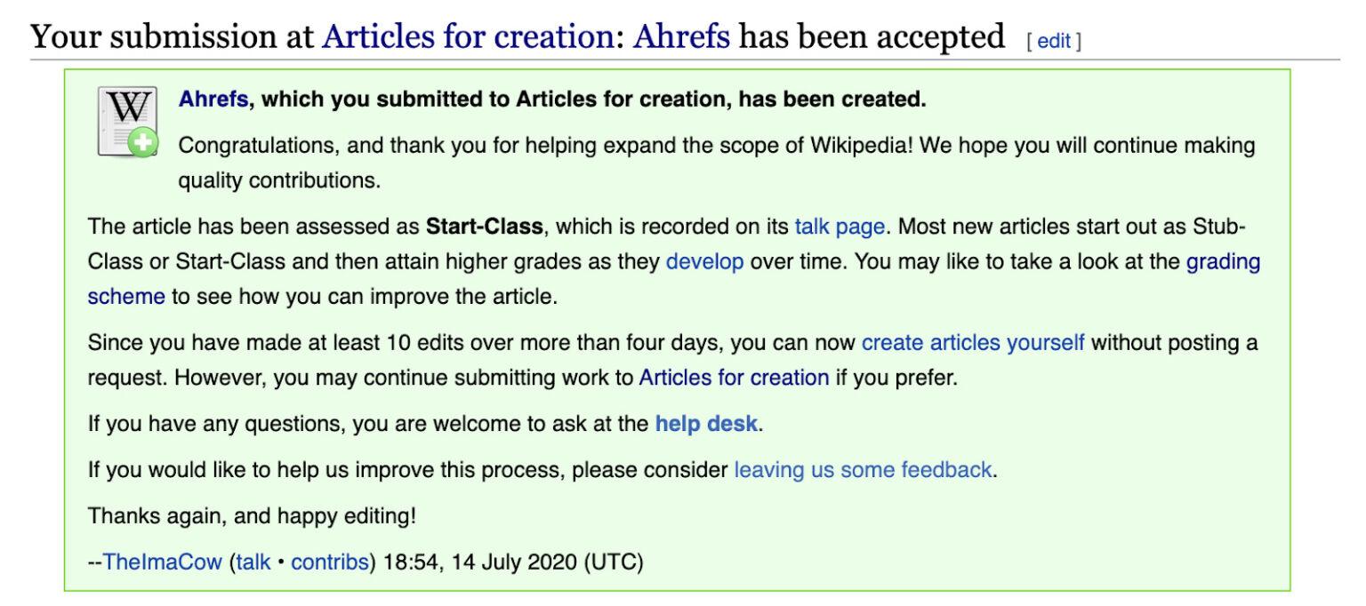ویکی پدیا قبول شدن درخواست